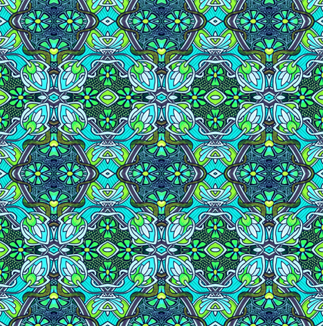 Retro Nouveau Bud and Bloom Patches fabric by edsel2084 on Spoonflower - custom fabric