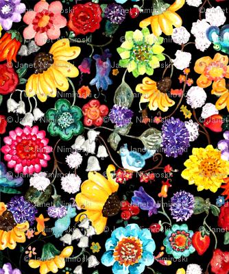 Watercolor flowers black