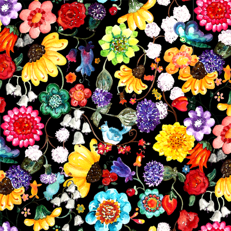 Watercolor flowers black fabric by beebumble on Spoonflower - custom fabric
