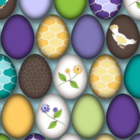Celebrate Spring with Painted Eggs fabric by inscribed_here on Spoonflower - custom fabric