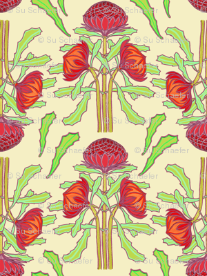 Spring waratahs on ivory by Su_G
