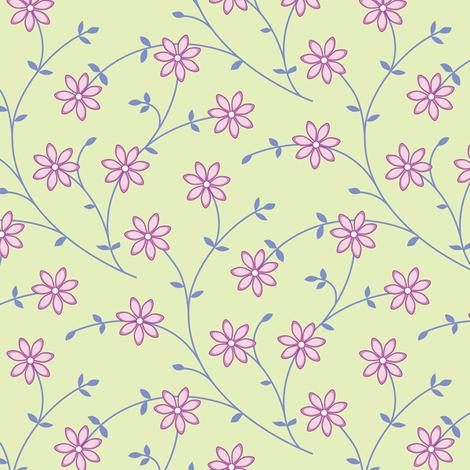 Daisy Vine green fabric by jillbyers on Spoonflower - custom fabric