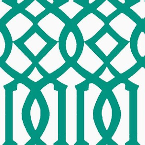 Imperial Trellis-Teal/White-Reverse-Large