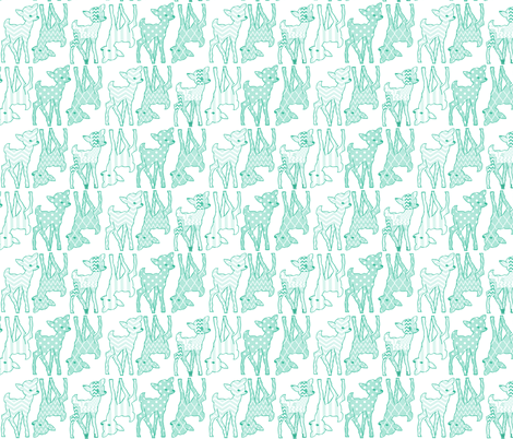 Two Way Mint Deer fabric by vintagegreenlimited on Spoonflower - custom fabric