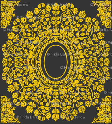 Lace Floral Medallion in Charcoal and Gold