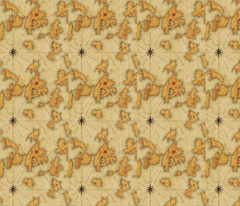 "Treasure Islands Vintage Map 12""x12"" fabric by juliesfabrics on Spoonflower - custom fabric"