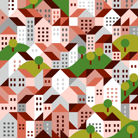 town pattern, residential fabric by dennisthebadger on Spoonflower - custom fabric