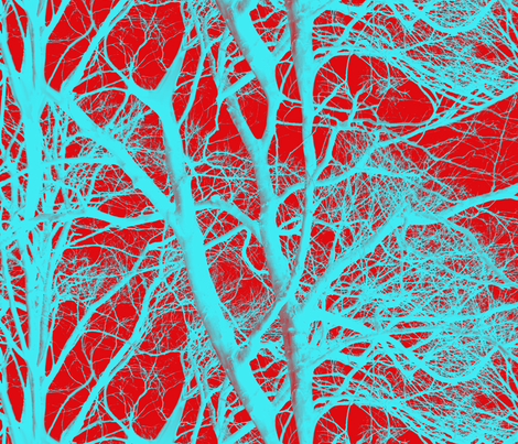 The Tree Lace ~ Red & Cyan fabric by peacoquettedesigns on Spoonflower - custom fabric