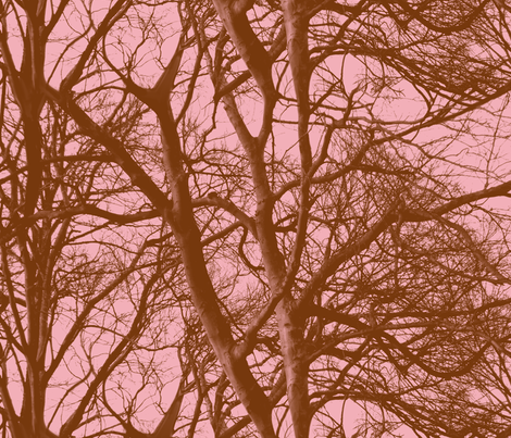 The Tree Lace ~ Pink & Brown fabric by peacoquettedesigns on Spoonflower - custom fabric