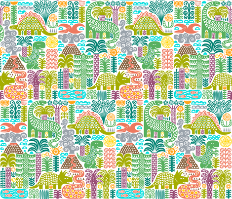 a day in pre-history, half size fabric by dennisthebadger on Spoonflower - custom fabric