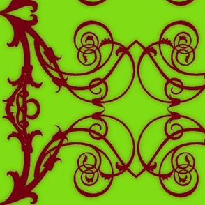 Art Nouveau6-raspberry/green