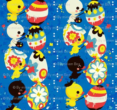 Little Chicks painting an Easter Egg