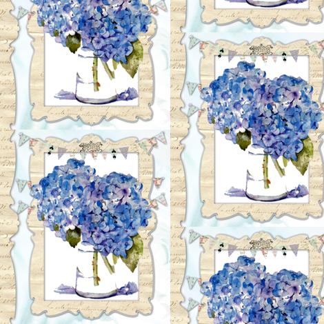 French Hydrangeas fabric by karenharveycox on Spoonflower - custom fabric