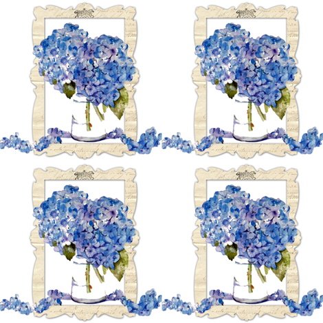 French Hydrangea Cascade fabric by karenharveycox on Spoonflower - custom fabric