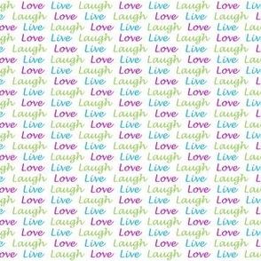Live Laugh Love purple aqua green white