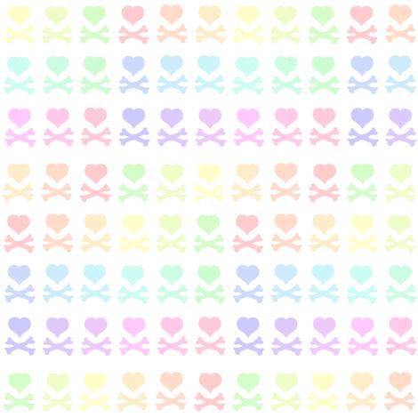 Heartskulls! - Pastel Rainbows  - © PinkSodaPop 4ComputerHeaven.com fabric by pinksodapop on Spoonflower - custom fabric