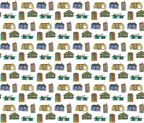 Little Houses - House Fabric  fabric by heatherkent on Spoonflower - custom fabric