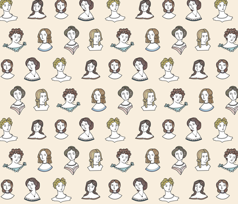 Jane's Romantic Ladies fabric by chris_jorge on Spoonflower - custom fabric