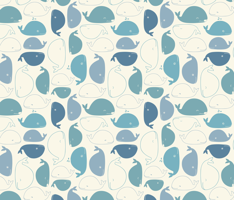 Yay Whales! fabric by dinaramay on Spoonflower - custom fabric