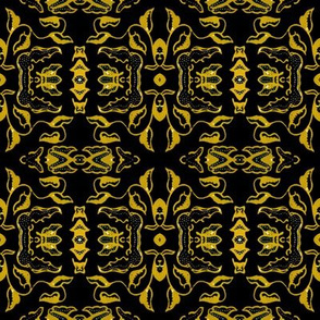 Vintage Tiki Floral Gold and Black Motif