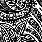 black and white zendoodle mandala