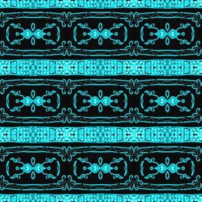 Vintage Tiki Teal and Black Chain Pattern