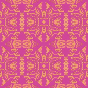Vintage Tiki Floral Gold and Pink Motif