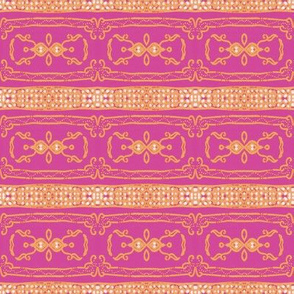 Vintage Tiki Gold and Pink Chain Pattern