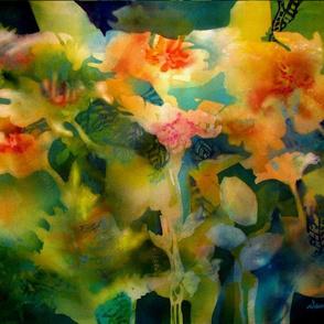 Flower Power Garden, watercolor by Dawn Davis
