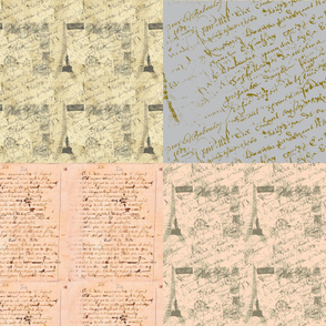 Parisian French Script fat quarter bundle