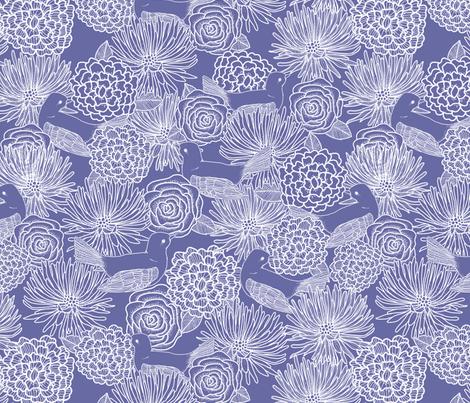 Dark Blue Birds fabric by lydia_meiying on Spoonflower - custom fabric