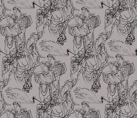 Rinnasei, Chinese Poet - Art from Japan fabric by telden on Spoonflower - custom fabric