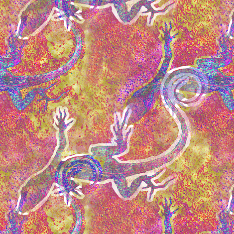 Lizard Petroglyph fabric by eclectic_house on Spoonflower - custom fabric