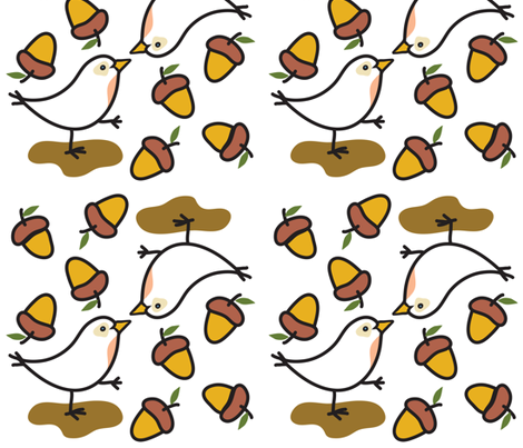 bird-acorn fabric by judy_kahooti on Spoonflower - custom fabric