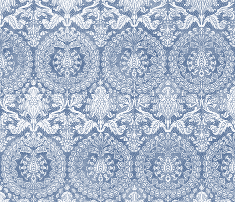 Catherine of Aragon ~ Blue and White fabric by peacoquettedesigns on Spoonflower - custom fabric