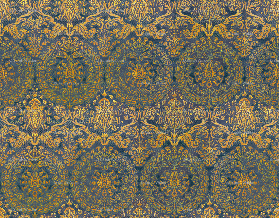 Catherine of Aragon ~ Mediterranean Blue and Gold fabric ...