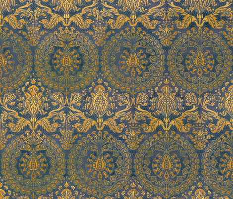 Catherine of Aragon ~ Mediterranean Blue and Gold fabric by peacoquettedesigns on Spoonflower - custom fabric