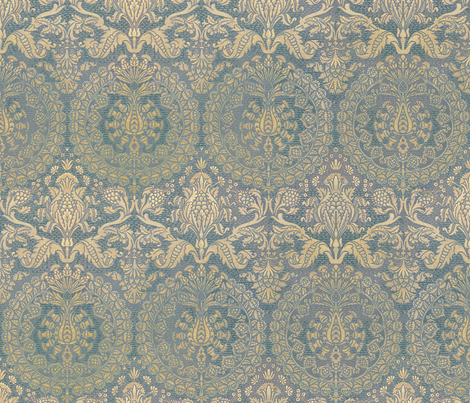 Catherine of Aragon ~ Provencal Blue and Gold fabric by peacoquettedesigns on Spoonflower - custom fabric