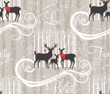 Family Portrait -  the Deers fabric by cynthiafrenette on Spoonflower - custom fabric