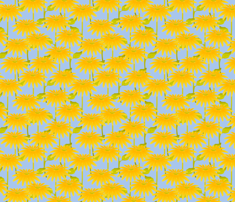 Yellow Flower on Blue fabric by glimmericks on Spoonflower - custom fabric
