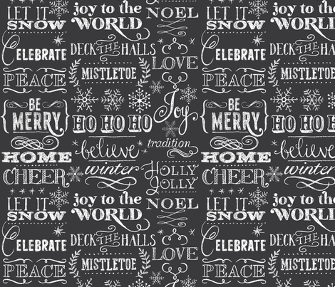 Christmas Sayings, Chalkboard fabric by cynthiafrenette on Spoonflower - custom fabric