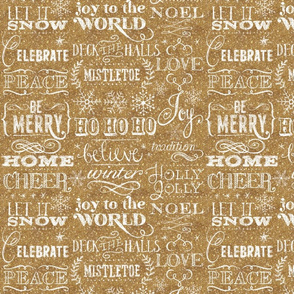 Christmas Sayings, Gold Glitter