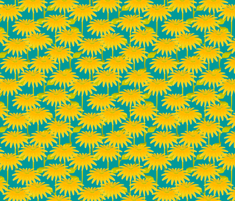 YELLOW FLOWER on teal fabric by glimmericks on Spoonflower - custom fabric