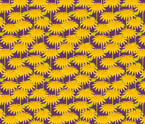 YELLOW FLOWER on purple fabric by glimmericks on Spoonflower - custom fabric