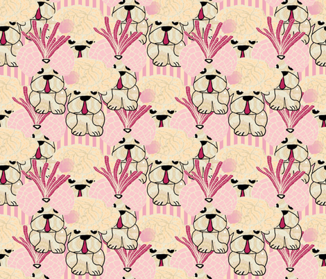 Pug's Puppies (Lady Bertram, Mansfield Park) fabric by anniedeb on Spoonflower - custom fabric