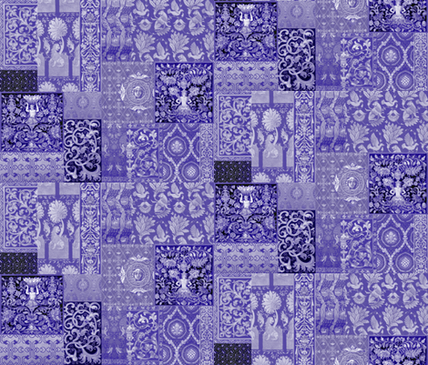 Henry VIII Was A Cheater ... Quilt ~ Indigo/Purple/Blue and White fabric by peacoquettedesigns on Spoonflower - custom fabric
