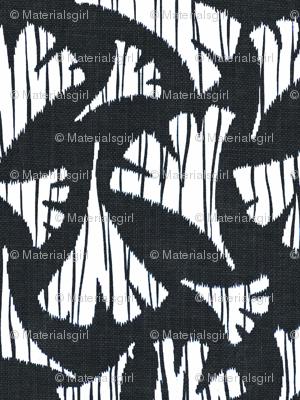 Ginkgo leaf woodcut - black and white