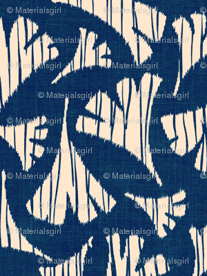 Ginkgo Leaf woodcut - navy blue and white