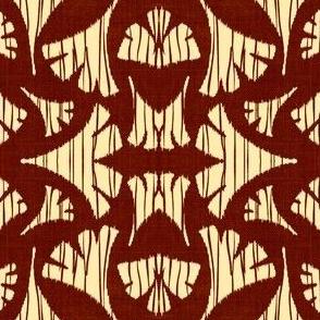 Ginkgo Leaf woodcut - wine/off white