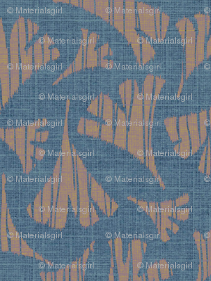 Ginkgo leaf woodcut - light blue/beige